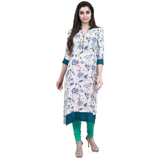 Mytri Women's Multi Rayon Printed Straight Kurta