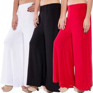 Casual Wear Combo Multi Color Satin Laycra Plazo (Pack Of 3)