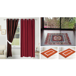 Azaani beautiful solid set of two polyster door curtain with one jute sitting mat and two cotton bathmat(AZ2SOLIDCURTAIN1BROWNSITTINGMAT2BATHMAT-89)