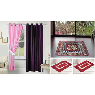 Azaani beautiful solid set of two polyster door curtain with one jute sitting mat and two cotton bathmat(AZ2SOLIDCURTAIN1BROWNSITTINGMAT2BATHMAT-253)