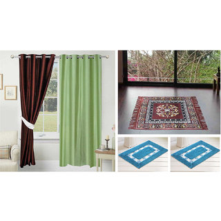 Azaani beautiful solid set of two polyster door curtain with one jute sitting mat and two cotton bathmat(AZ2SOLIDCURTAIN1BROWNSITTINGMAT2BATHMAT-97)