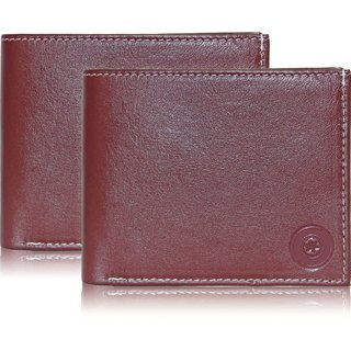 aed171203576 Buy POLLSTAR Men s Brown Leather Wallet with Flip ID (WL51BN) Pack of 2  Online - Get 70% Off
