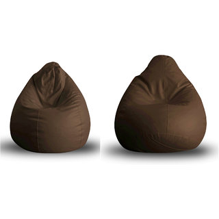 Home Story Classic Bean Bag XL Size Brown Cover Only Set of 2
