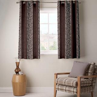 Enaakshi Set of 2 room darkening designer Dark brown Colored curtains with Gold Floral Print for Windows 5 Feet