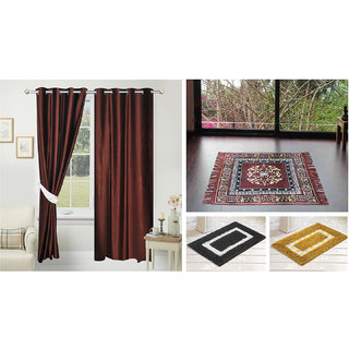 Azaani beautiful solid set of two polyster door curtain with one jute sitting mat and two cotton bathmat(AZ2SOLIDCURTAIN1BROWNSITTINGMAT2BATHMAT-504)