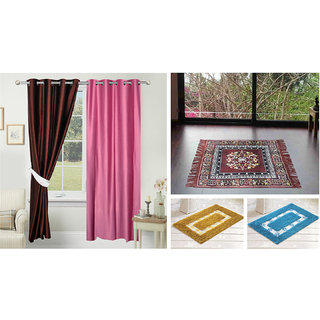 Azaani beautiful solid set of two polyster door curtain with one jute sitting mat and two cotton bathmat(AZ2SOLIDCURTAIN1BROWNSITTINGMAT2BATHMAT-463)