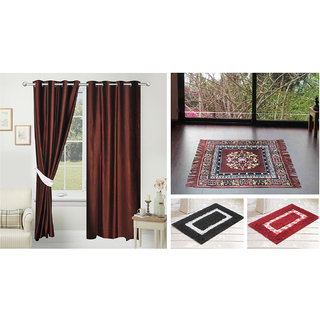 Azaani beautiful solid set of two polyster door curtain with one jute sitting mat and two cotton bathmat(AZ2SOLIDCURTAIN1BROWNSITTINGMAT2BATHMAT-505)