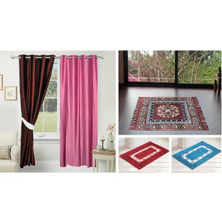 Azaani beautiful solid set of two polyster door curtain with one jute sitting mat and two cotton bathmat(AZ2SOLIDCURTAIN1BROWNSITTINGMAT2BATHMAT-464)