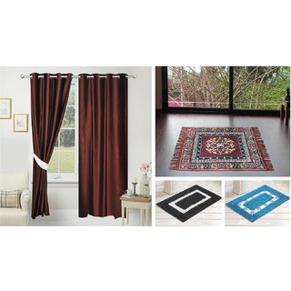 Azaani beautiful solid set of two polyster door curtain with one jute sitting mat and two cotton bathmat(AZ2SOLIDCURTAIN1BROWNSITTINGMAT2BATHMAT-506)