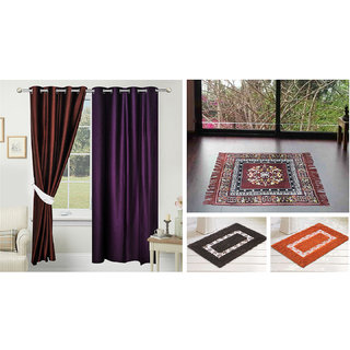 Azaani beautiful solid set of two polyster door curtain with one jute sitting mat and two cotton bathmat(AZ2SOLIDCURTAIN1BROWNSITTINGMAT2BATHMAT-465)