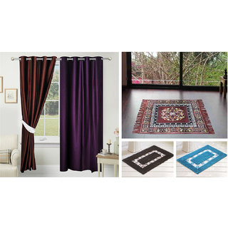 Azaani beautiful solid set of two polyster door curtain with one jute sitting mat and two cotton bathmat(AZ2SOLIDCURTAIN1BROWNSITTINGMAT2BATHMAT-466)