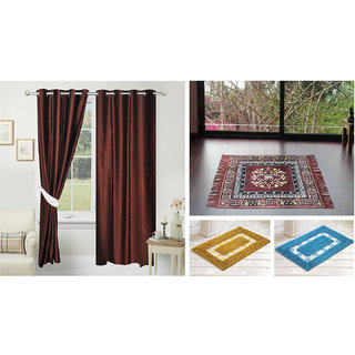 Azaani beautiful solid set of two polyster door curtain with one jute sitting mat and two cotton bathmat(AZ2SOLIDCURTAIN1BROWNSITTINGMAT2BATHMAT-508)