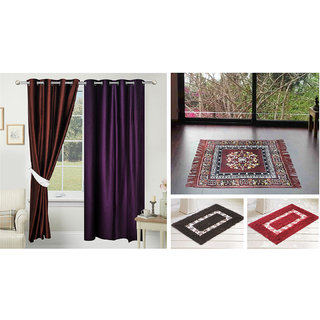 Azaani beautiful solid set of two polyster door curtain with one jute sitting mat and two cotton bathmat(AZ2SOLIDCURTAIN1BROWNSITTINGMAT2BATHMAT-467)