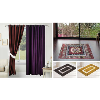 Azaani beautiful solid set of two polyster door curtain with one jute sitting mat and two cotton bathmat(AZ2SOLIDCURTAIN1BROWNSITTINGMAT2BATHMAT-468)