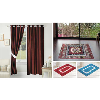 Azaani beautiful solid set of two polyster door curtain with one jute sitting mat and two cotton bathmat(AZ2SOLIDCURTAIN1BROWNSITTINGMAT2BATHMAT-509)
