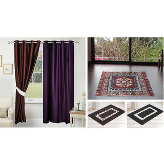 Azaani beautiful solid set of two polyster door curtain with one jute sitting mat and two cotton bathmat(AZ2SOLIDCURTAIN1BROWNSITTINGMAT2BATHMAT-469)