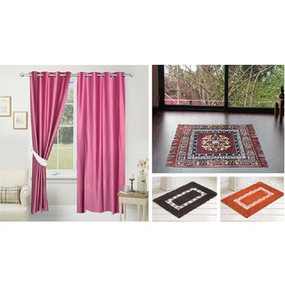 Azaani beautiful solid set of two polyster door curtain with one jute sitting mat and two cotton bathmat(AZ2SOLIDCURTAIN1BROWNSITTINGMAT2BATHMAT-510)