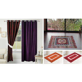 Azaani beautiful solid set of two polyster door curtain with one jute sitting mat and two cotton bathmat(AZ2SOLIDCURTAIN1BROWNSITTINGMAT2BATHMAT-471)