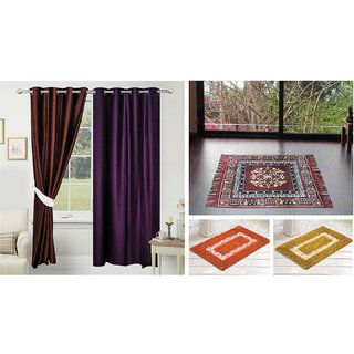 Azaani beautiful solid set of two polyster door curtain with one jute sitting mat and two cotton bathmat(AZ2SOLIDCURTAIN1BROWNSITTINGMAT2BATHMAT-472)