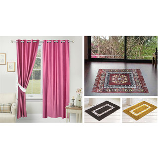 Azaani beautiful solid set of two polyster door curtain with one jute sitting mat and two cotton bathmat(AZ2SOLIDCURTAIN1BROWNSITTINGMAT2BATHMAT-513)