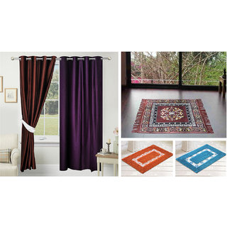 Azaani beautiful solid set of two polyster door curtain with one jute sitting mat and two cotton bathmat(AZ2SOLIDCURTAIN1BROWNSITTINGMAT2BATHMAT-473)