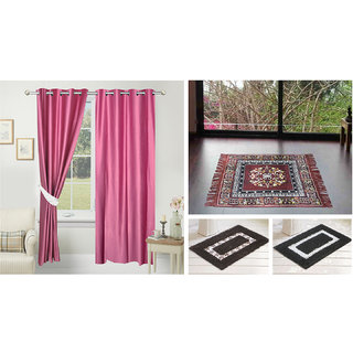 Azaani beautiful solid set of two polyster door curtain with one jute sitting mat and two cotton bathmat(AZ2SOLIDCURTAIN1BROWNSITTINGMAT2BATHMAT-514)