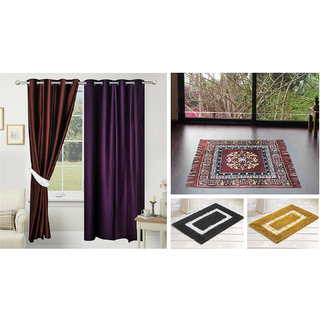 Azaani beautiful solid set of two polyster door curtain with one jute sitting mat and two cotton bathmat(AZ2SOLIDCURTAIN1BROWNSITTINGMAT2BATHMAT-474)