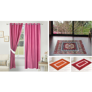 Azaani beautiful solid set of two polyster door curtain with one jute sitting mat and two cotton bathmat(AZ2SOLIDCURTAIN1BROWNSITTINGMAT2BATHMAT-516)