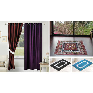 Azaani beautiful solid set of two polyster door curtain with one jute sitting mat and two cotton bathmat(AZ2SOLIDCURTAIN1BROWNSITTINGMAT2BATHMAT-476)