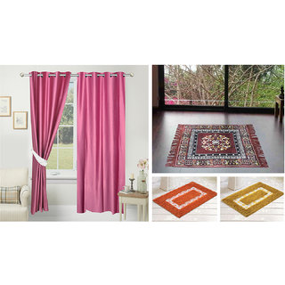 Azaani beautiful solid set of two polyster door curtain with one jute sitting mat and two cotton bathmat(AZ2SOLIDCURTAIN1BROWNSITTINGMAT2BATHMAT-517)