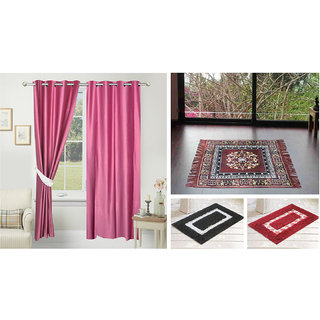 Azaani beautiful solid set of two polyster door curtain with one jute sitting mat and two cotton bathmat(AZ2SOLIDCURTAIN1BROWNSITTINGMAT2BATHMAT-520)