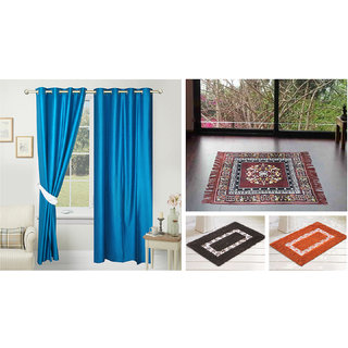 Azaani beautiful solid set of two polyster door curtain with one jute sitting mat and two cotton bathmat(AZ2SOLIDCURTAIN1BROWNSITTINGMAT2BATHMAT-480)
