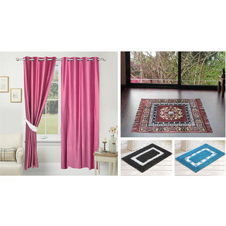Azaani beautiful solid set of two polyster door curtain with one jute sitting mat and two cotton bathmat(AZ2SOLIDCURTAIN1BROWNSITTINGMAT2BATHMAT-521)