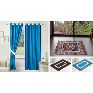 Azaani beautiful solid set of two polyster door curtain with one jute sitting mat and two cotton bathmat(AZ2SOLIDCURTAIN1BROWNSITTINGMAT2BATHMAT-481)