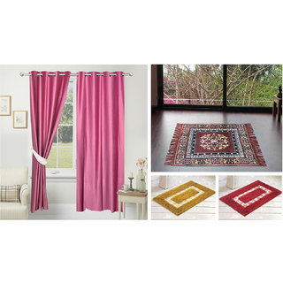 Azaani beautiful solid set of two polyster door curtain with one jute sitting mat and two cotton bathmat(AZ2SOLIDCURTAIN1BROWNSITTINGMAT2BATHMAT-522)