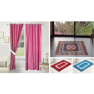 Azaani beautiful solid set of two polyster door curtain with one jute sitting mat and two cotton bathmat(AZ2SOLIDCURTAIN1BROWNSITTINGMAT2BATHMAT-524)