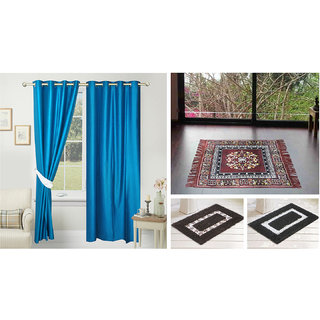 Azaani beautiful solid set of two polyster door curtain with one jute sitting mat and two cotton bathmat(AZ2SOLIDCURTAIN1BROWNSITTINGMAT2BATHMAT-484)