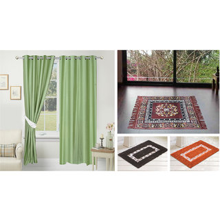 Azaani beautiful solid set of two polyster door curtain with one jute sitting mat and two cotton bathmat(AZ2SOLIDCURTAIN1BROWNSITTINGMAT2BATHMAT-525)