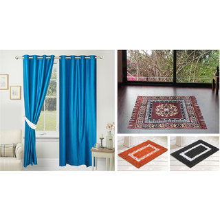 Azaani beautiful solid set of two polyster door curtain with one jute sitting mat and two cotton bathmat(AZ2SOLIDCURTAIN1BROWNSITTINGMAT2BATHMAT-485)