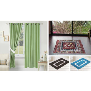 Azaani beautiful solid set of two polyster door curtain with one jute sitting mat and two cotton bathmat(AZ2SOLIDCURTAIN1BROWNSITTINGMAT2BATHMAT-526)