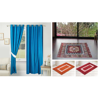 Azaani beautiful solid set of two polyster door curtain with one jute sitting mat and two cotton bathmat(AZ2SOLIDCURTAIN1BROWNSITTINGMAT2BATHMAT-486)