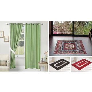 Azaani beautiful solid set of two polyster door curtain with one jute sitting mat and two cotton bathmat(AZ2SOLIDCURTAIN1BROWNSITTINGMAT2BATHMAT-527)