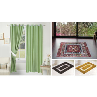 Azaani beautiful solid set of two polyster door curtain with one jute sitting mat and two cotton bathmat(AZ2SOLIDCURTAIN1BROWNSITTINGMAT2BATHMAT-528)