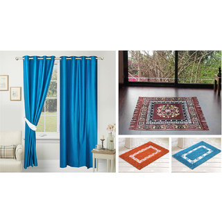 Azaani beautiful solid set of two polyster door curtain with one jute sitting mat and two cotton bathmat(AZ2SOLIDCURTAIN1BROWNSITTINGMAT2BATHMAT-488)