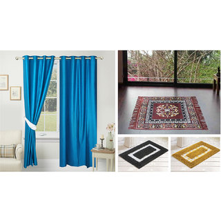 Azaani beautiful solid set of two polyster door curtain with one jute sitting mat and two cotton bathmat(AZ2SOLIDCURTAIN1BROWNSITTINGMAT2BATHMAT-489)