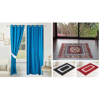 Azaani beautiful solid set of two polyster door curtain with one jute sitting mat and two cotton bathmat(AZ2SOLIDCURTAIN1BROWNSITTINGMAT2BATHMAT-490)