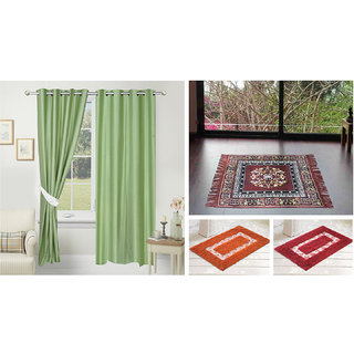 Azaani beautiful solid set of two polyster door curtain with one jute sitting mat and two cotton bathmat(AZ2SOLIDCURTAIN1BROWNSITTINGMAT2BATHMAT-531)