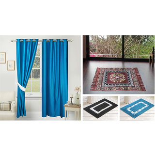 Azaani beautiful solid set of two polyster door curtain with one jute sitting mat and two cotton bathmat(AZ2SOLIDCURTAIN1BROWNSITTINGMAT2BATHMAT-491)