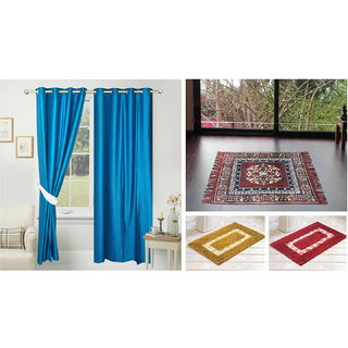 Azaani beautiful solid set of two polyster door curtain with one jute sitting mat and two cotton bathmat(AZ2SOLIDCURTAIN1BROWNSITTINGMAT2BATHMAT-492)