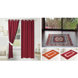 Azaani beautiful solid set of two polyster door curtain with one jute sitting mat and two cotton bathmat(AZ2SOLIDCURTAIN1BROWNSITTINGMAT2BATHMAT-561)